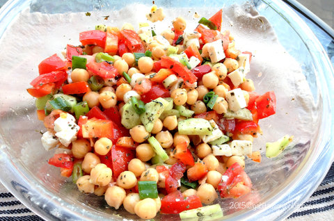 Chickpeas Cucumber and Tomato Salad